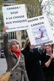 mot kanadensisk jakt protesterar skyddsremsan Royaltyfri Fotografi