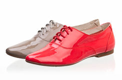 mot läder shoes patent vita kvinnor Royaltyfri Fotografi