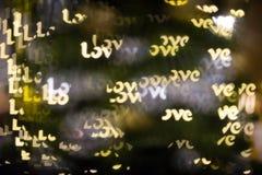 Mot léger d'amour de filtre de bokeh Photo libre de droits