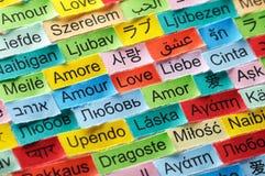 Mot multilingue d'amour Photos stock