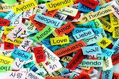 Mot multilingue d'amour Photo stock