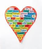 Mot multilingue d'amour Photographie stock