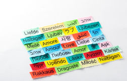 Mot multilingue d'amour Images stock