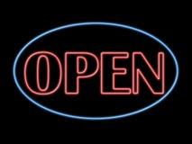 mot ouvert de néon Photographie stock libre de droits