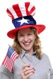 mot patriotisk white för bakgrundslady Arkivbilder
