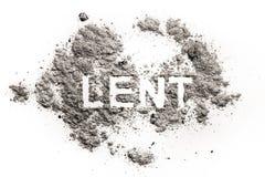 Mot prêté écrit en cendre, sable ou poussière photo stock