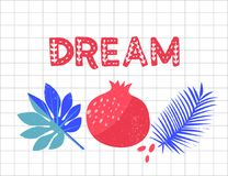 Mot RÊVEUR Grenade et illustration tropicale de palmettes sur le fond de papier carré Lettrage inspiré pour Images stock