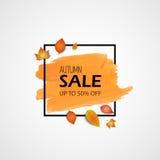 mot rouge de vente de lames d'automne Illustration de vecteur Course orange de brosse et cadre noir avec les feuilles réalistes j Photos stock