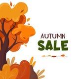 mot rouge de vente de lames d'automne Arbre jaune illustration libre de droits