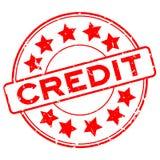 Mot rouge grunge de crédit avec le timbre en caoutchouc de joint d'icône d'étoile sur le fond blanc illustration de vecteur