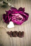 Mot sec VOUS rose et de chocolat Photos libres de droits