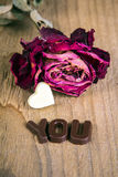 Mot sec VOUS rose et de chocolat Image stock