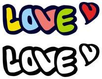 Mot simple et x22 ; love& x22 ; avec un coeur pour la lettre Lettrage fait sur commande original de main Images libres de droits