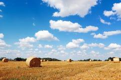 mot skyen för hö för molnigt fält för baler den guld- Royaltyfri Fotografi