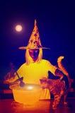 mot slagträn spökade fulla halloween plats för husmoonpumpa Royaltyfri Fotografi