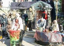 mot slagträn spökade fulla halloween plats för husmoonpumpa Royaltyfria Bilder