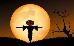 mot slagträn spökade fulla halloween plats för husmoonpumpa royaltyfri illustrationer