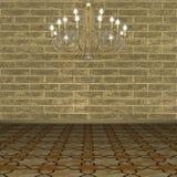 mot väggen för bakgrundstegelstenljuskrona Royaltyfri Fotografi