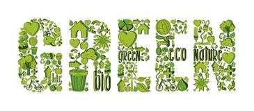 Mot vert avec les icônes environnementales Photographie stock libre de droits