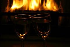mot wine för spisexponeringsglas två Royaltyfri Fotografi