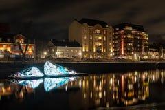 Motala ström w NOrrköping Sweden przy nocą fotografia royalty free