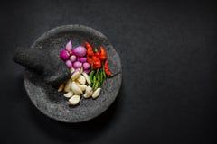 Motar en pierre traditionnel et pilon d'Asie avec l'ingrédient épicé Images stock