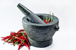 Motar with red hot chili Stock Photo
