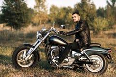 Motard sur une moto Photographie stock