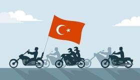 Motards sur des motos avec le drapeau de dinde Photo stock