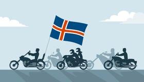 Motards sur des motos avec le drapeau de l'Islande Images libres de droits