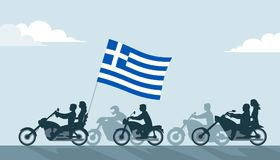 Motards sur des motos avec le drapeau de la Grèce Image libre de droits