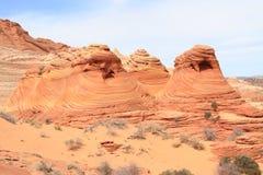 Motas del coyote: Pistas de la piedra arenisca Fotos de archivo libres de regalías