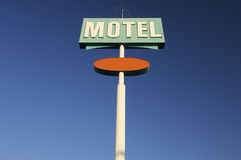 Motel. Poster green motel with blue sky Royalty Free Stock Photo