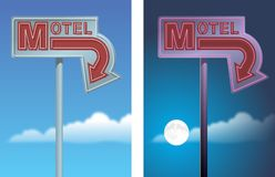 Motel Arrow Sign. Both day and night version. CorelDRAW V12 vector file available Stock Photos