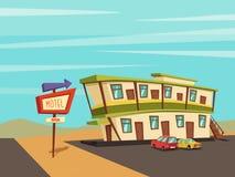 Motel in de woestijn Oud Uithangbord Vector beeldverhaalillustratie Stock Afbeeldingen