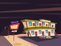 Motel in the desert. Old signboard. Vector cartoon illustration. Parking. Historic building. House facade. Place to rest. Accommodation for tourists Royalty Free Stock Images