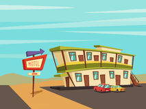 Motel in the desert. Old signboard. Vector cartoon illustration. Parking. Historic building. House facade. Place to rest. Accommodation for tourists Stock Images