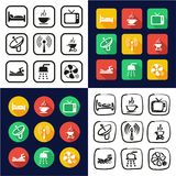 Motel Or Hotel All in One Icons Black & White Color Flat Design Freehand Set. This image is a vector illustration and can be scaled to any size without loss of Stock Photo