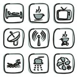 Motel Or Hotel Icons Freehand 2 Color Royalty Free Stock Images