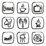 Motel Or Hotel Icons Freehand. This image is a illustration and can be scaled to any size without loss of resolution Stock Images
