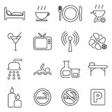 Motel Or Hotel Icons Thin Line Vector Illustration Set. This image is a vector illustration and can be scaled to any size without loss of resolution Royalty Free Stock Photos
