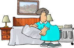 Motel Housekeeping. This illustration that I created depicts a woman cleaning a motel room Royalty Free Stock Photo