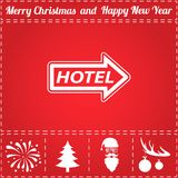 Motel Icon Vector. And bonus symbol for New Year - Santa Claus, Christmas Tree, Firework, Balls on deer antlers Stock Image