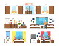 Motel interior set. Stock Images
