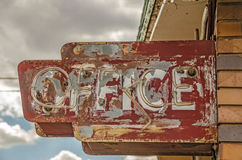 Motel Office Sign. Old, weathered, broken neon sign for a motel office on Route 66 Stock Images