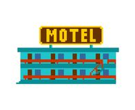 Motel pixel art. Small hotel 8 bit Vector illustration. vector illustration