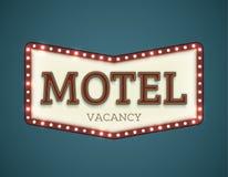 Motel roadsign. Retro American motel roadsign. Light bulbs on the outer frame. Arrow shape. EPS10 vector image Stock Photography