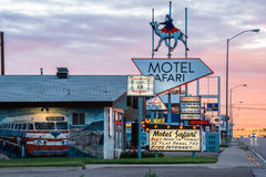 Motel Safari Night Tucumcari New Mexico Fotografia de Stock