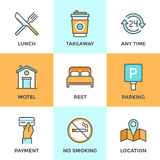 Motel services line icons set. Line icons set with flat design elements of motel accommodation services, small hotel general amenities, parking and no smoking Stock Image
