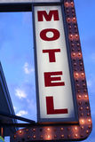 Motel Sign. With lights taken from low viewpoint royalty free stock photo